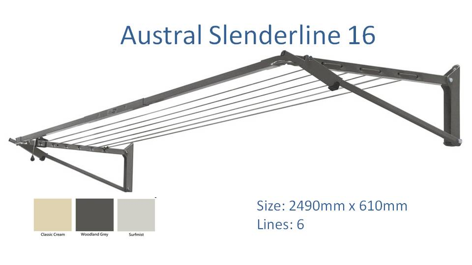 austral slenderline 16 2500mm wide clothesline