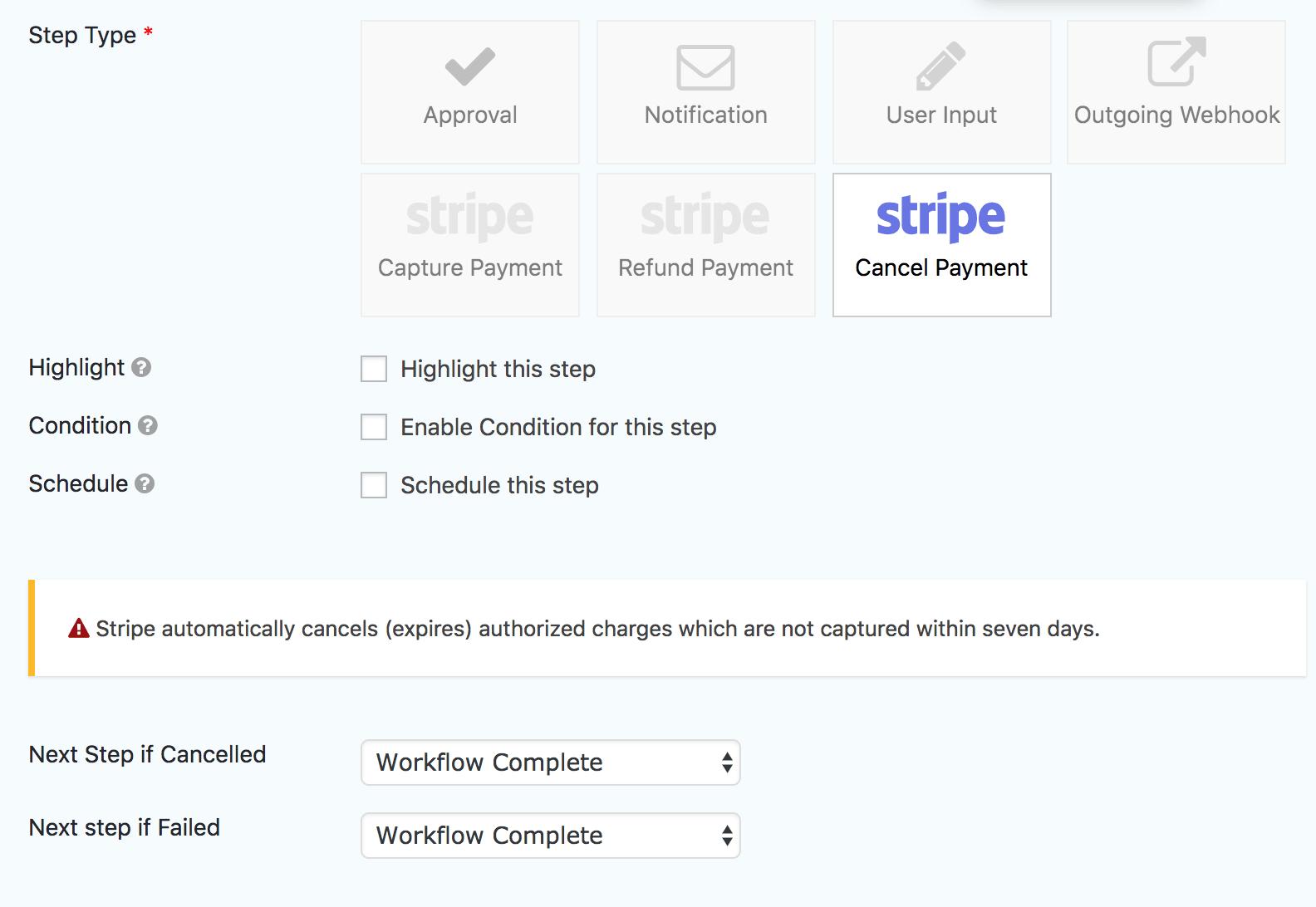 Stripe Extension - Cancel Payment Step - Gravity Flow