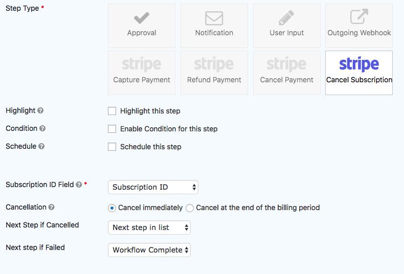Stripe Extension - Cancel Subscription Step - Gravity Flow
