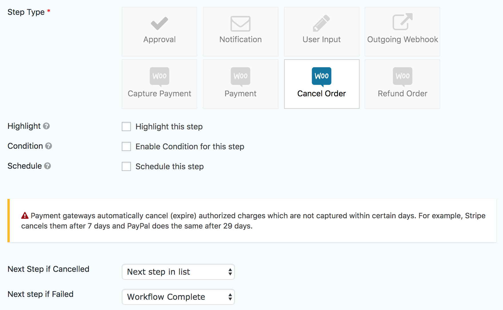 WooCommerce Extension - Cancel Order Step - Gravity Flow