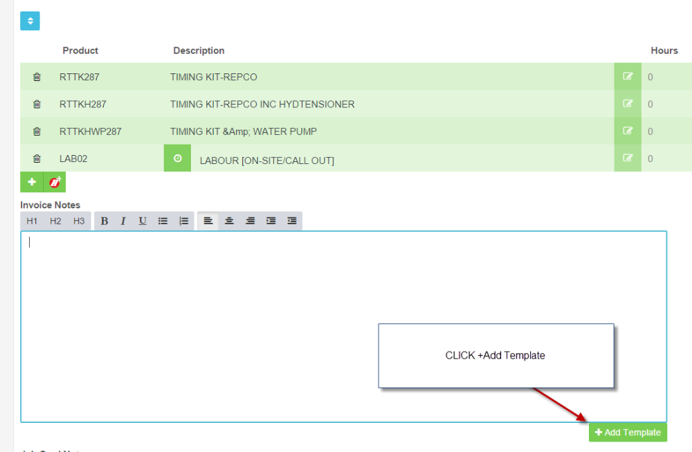 how to add templated wording to an invoice workshop software