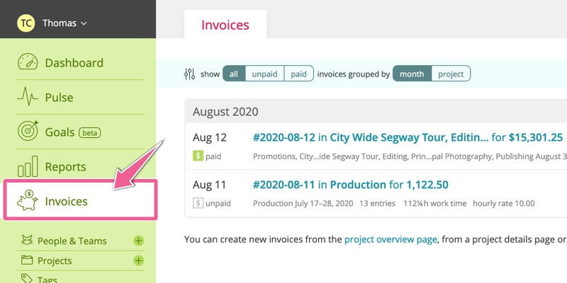 A screenshot highlighting the Invoice section of the navigation sidebar