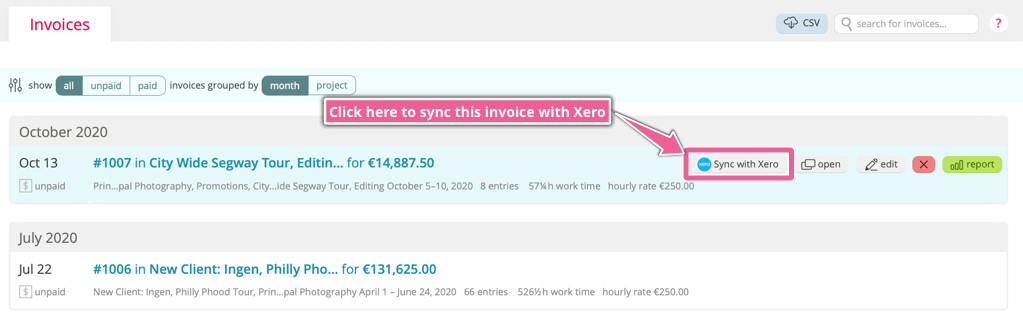 A screenshot highlighting the 'Sync with Xero' button when you focus on an invoice in Noko