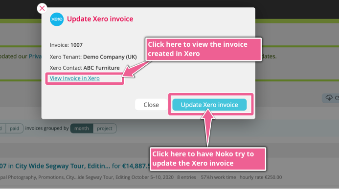 A screenshot showing the dialog box when after you've created the invoice in Xero, where you can update it.