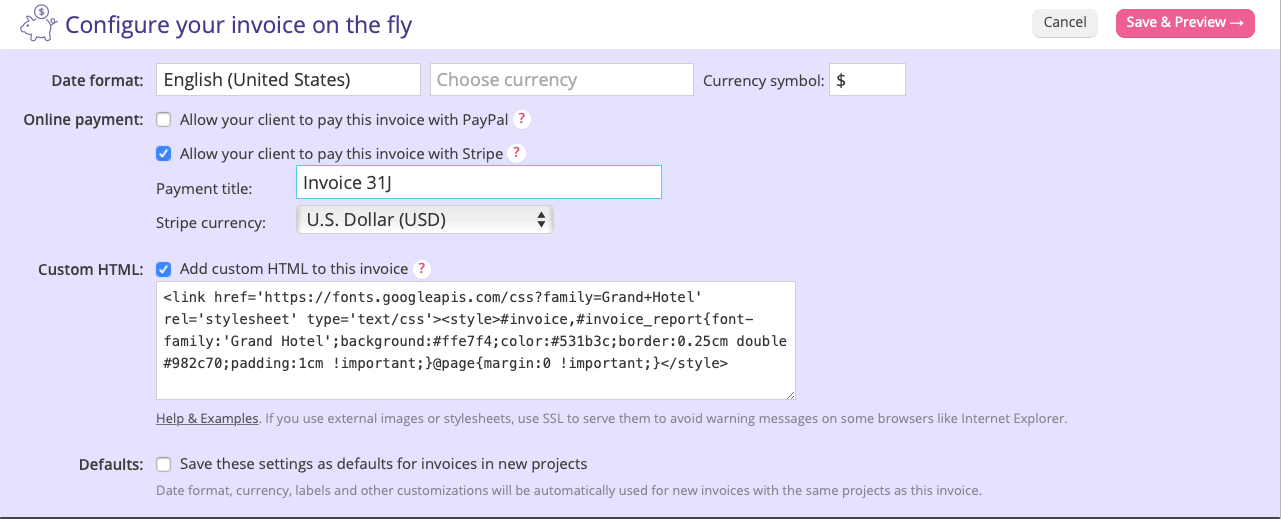 A screenshot showing section of the Invoice form where you can make an invoice payable through Stripe