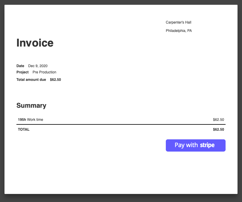 A screenshot showing the 'Pay with Stripe' button on a shared invoice.