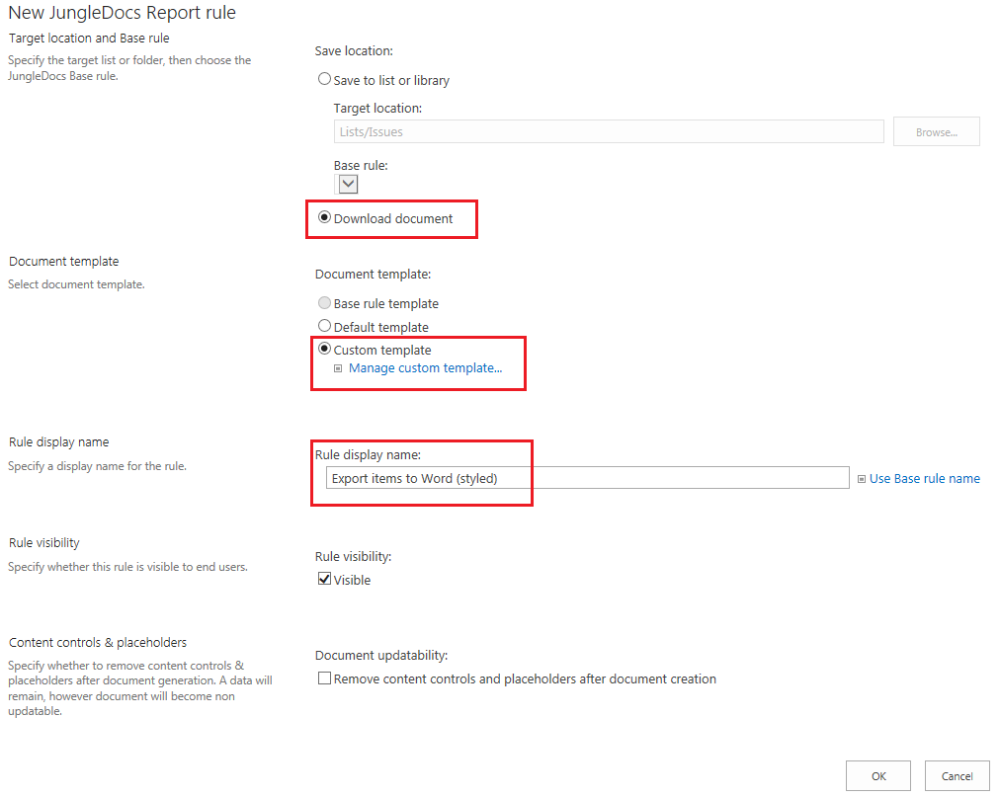 JungleDocs Export SharePoint list items to Word ReportItems