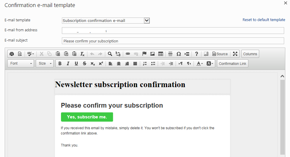 JungleMail Subscription Web Part And Its Email And Behavior - Newsletter subscription email template