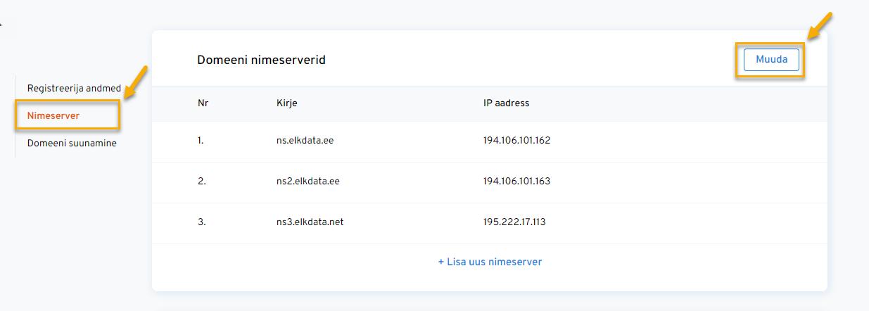 Domeeni sidumine e-poega veebmajutuses - nimeserver