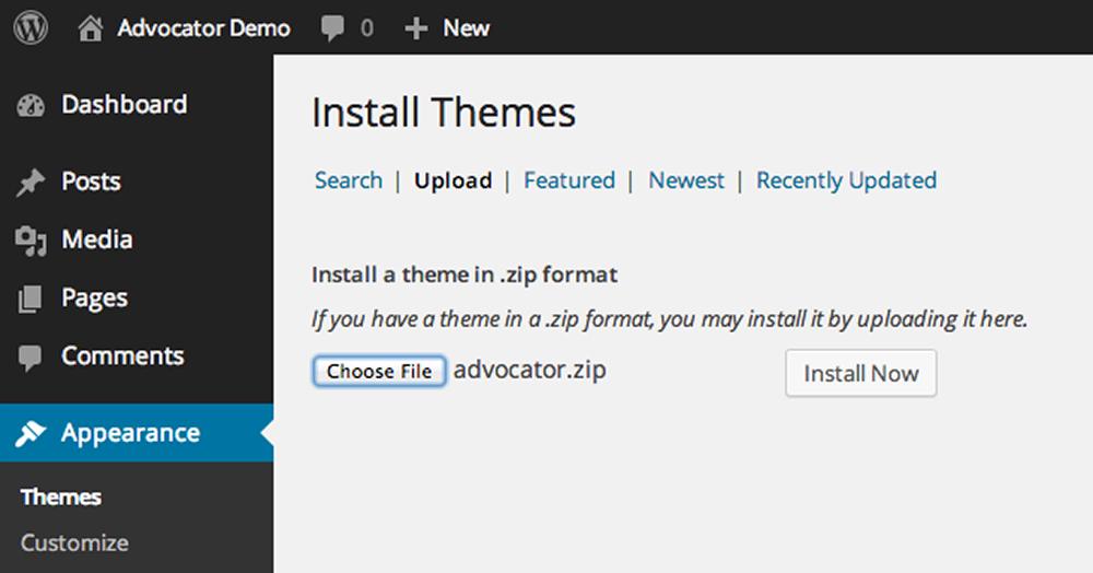 Advocator: Theme Installation - WordPress Theme Documentation for ...