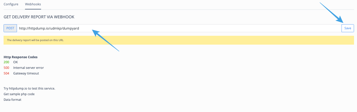 How can I get the delivery reports on my Webhook URL