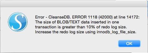 Error: increase redo log size using innodb_log_file_size