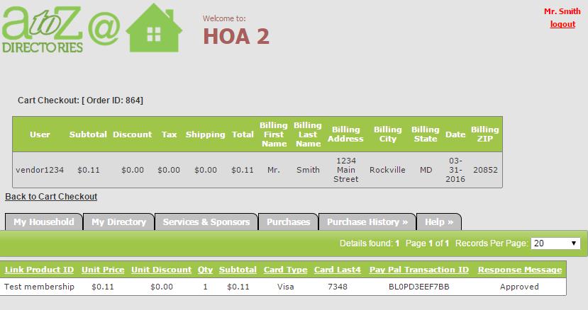 Purchase History - HOA Admins