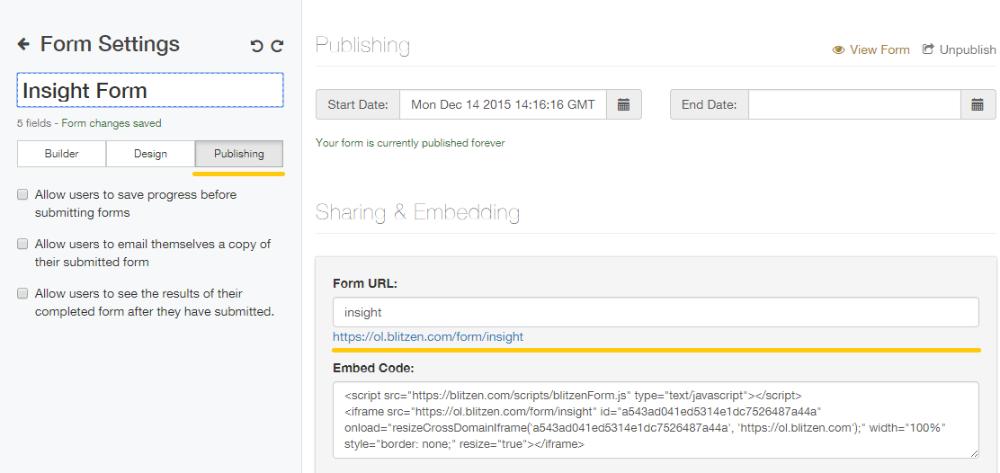 Change Form URL - Blitzen Knowledge Base
