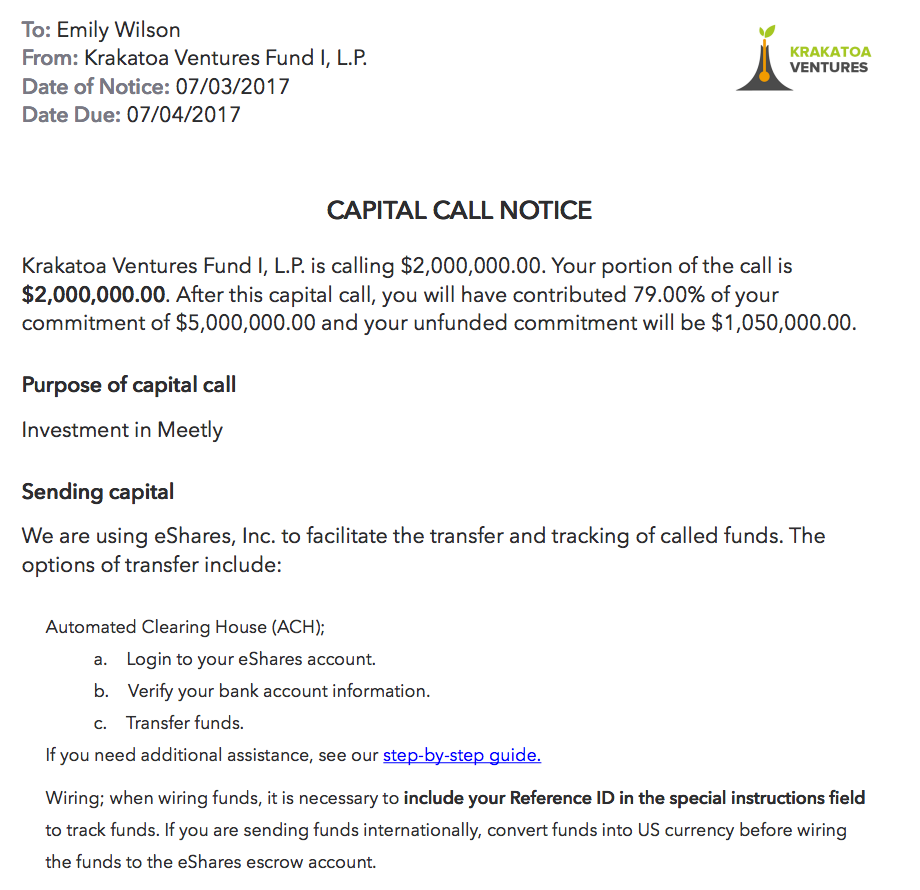 Capital Call Letter