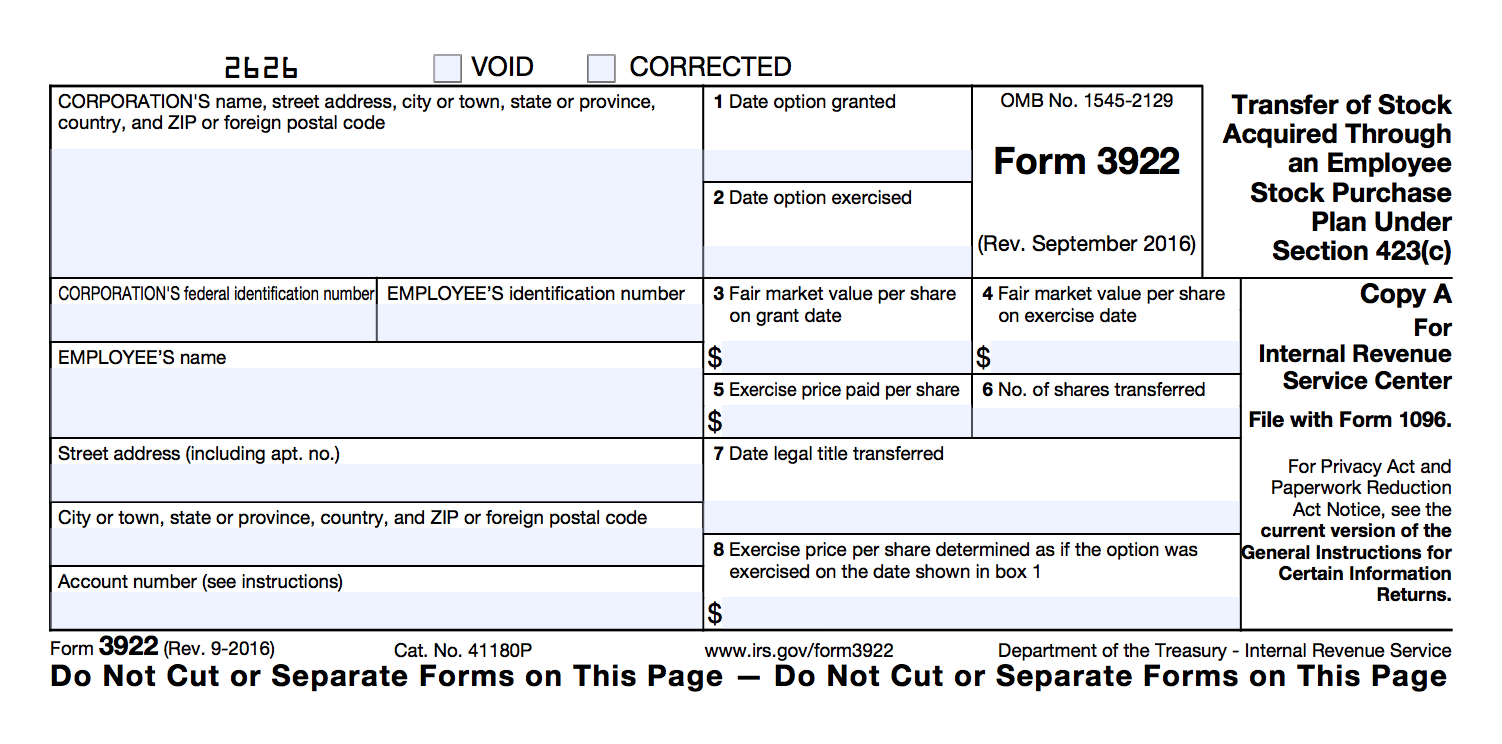 IRS Form 3922 - Carta Help Center