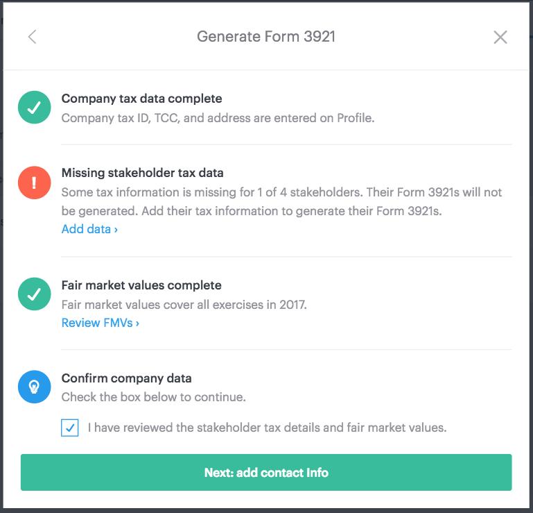 Generating Form 3921 In Carta Carta Help Center