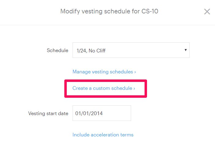 Create A Milestone Vesting Schedule Carta Help Center