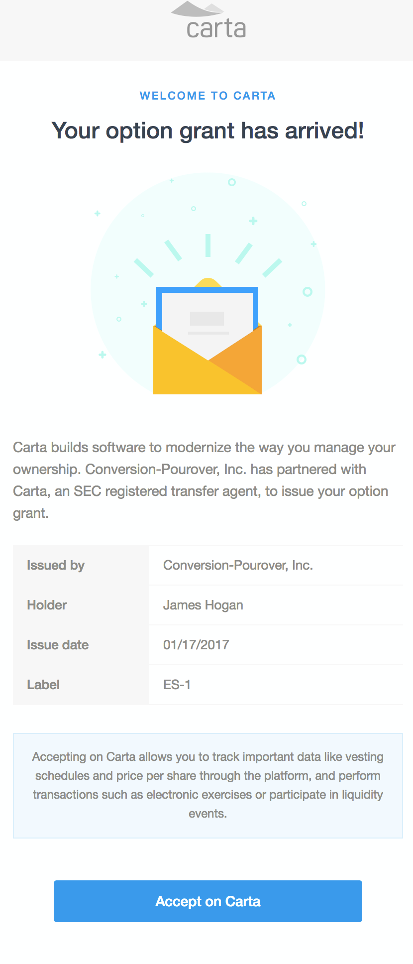 Heads Up Email Template For Employees Carta Help Center