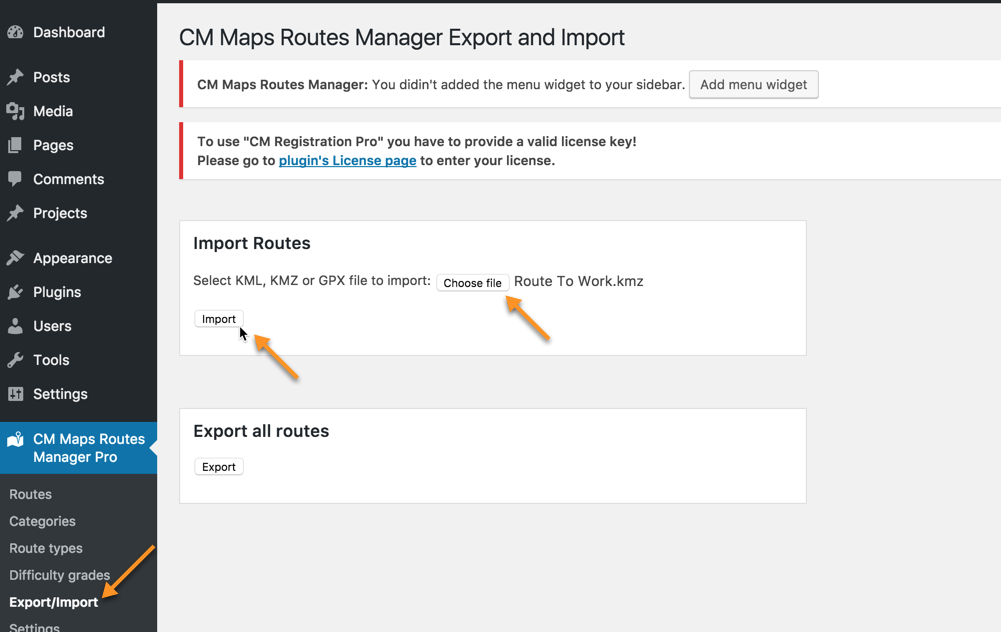 CM Maps Route Manager (CMMRM) - Importing and Finding KML/KMZ/GPX