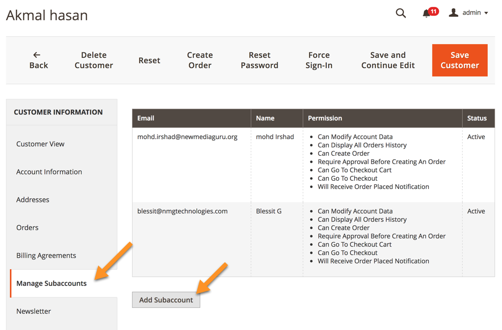 Multi User Magento 2 Adding Sub Accounts Creativeminds Products