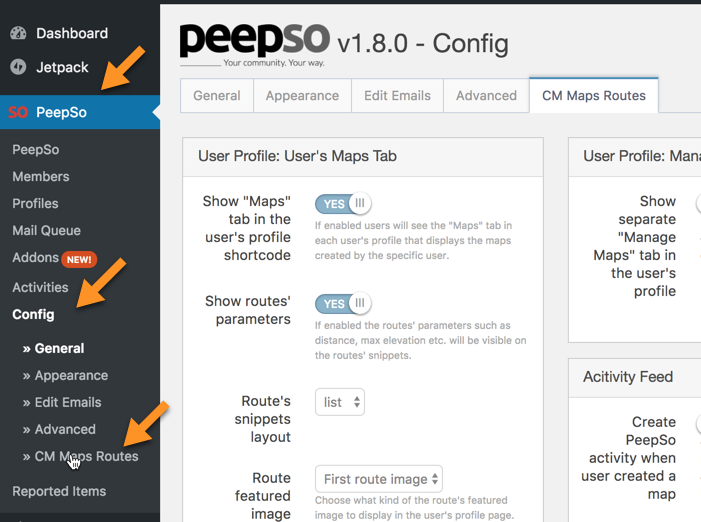 Routes Manager PeepSo Integration - Setting up