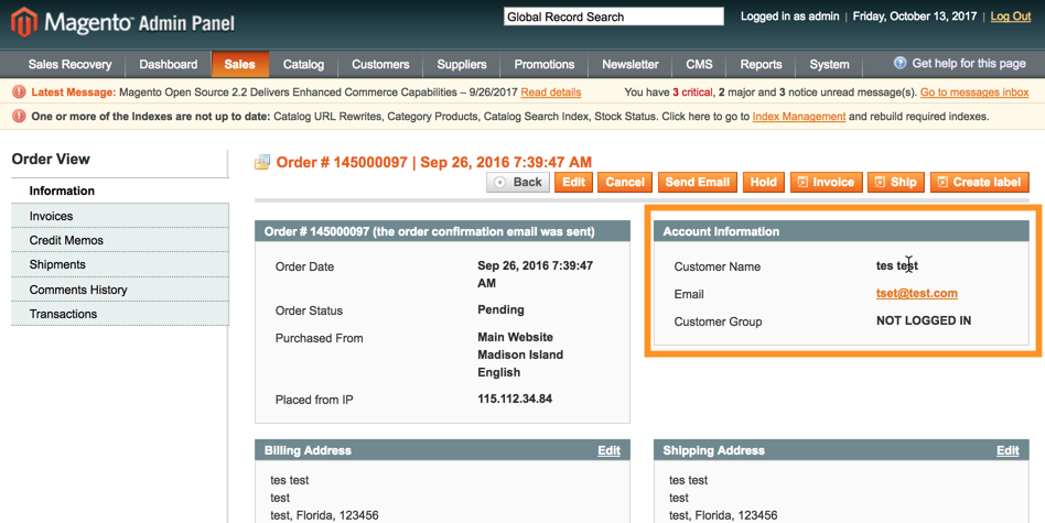 Without True Edit Order no way to Edit unregistered customers Account information