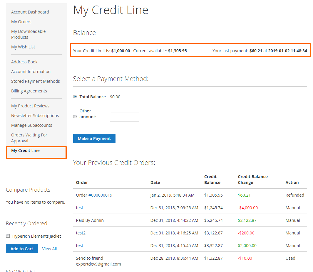 Credit Line (M9) - Checking And Topping Up Balance (Frontend