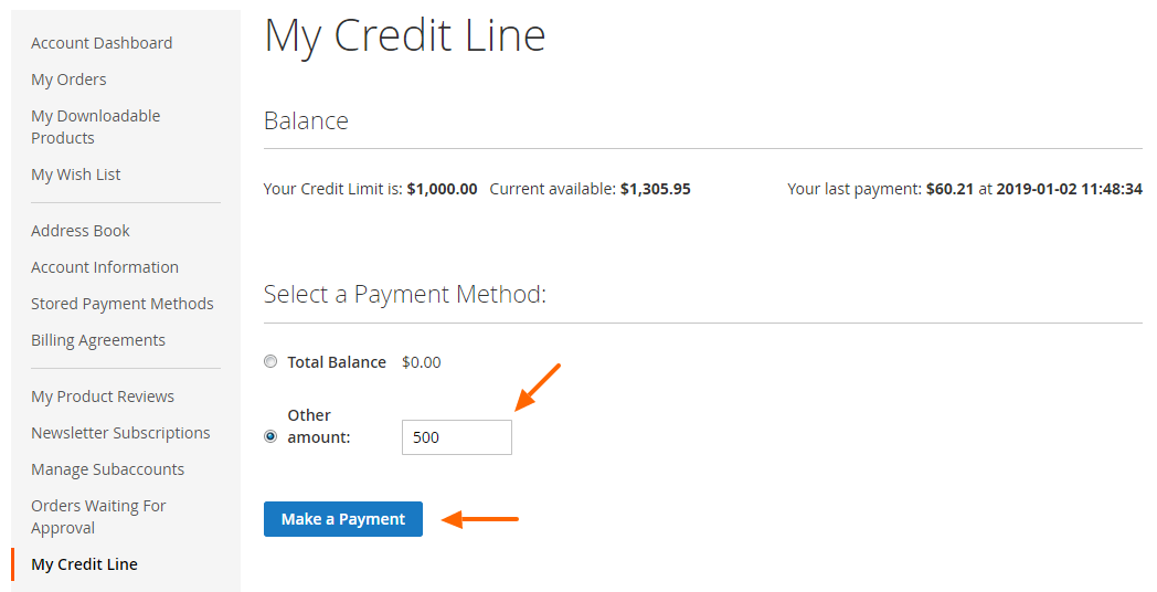 Credit Line M2 Checking And Topping Up Balance Frontend