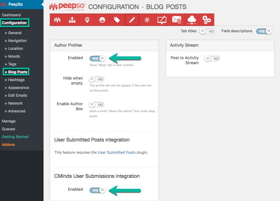 CM User Submitted Posts - Integration - PeepSo