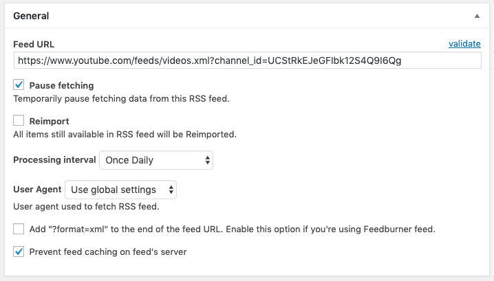 RSS Post Importer - Set Up - 1) Adding a Feed