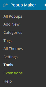 Popup Maker Tools Menu