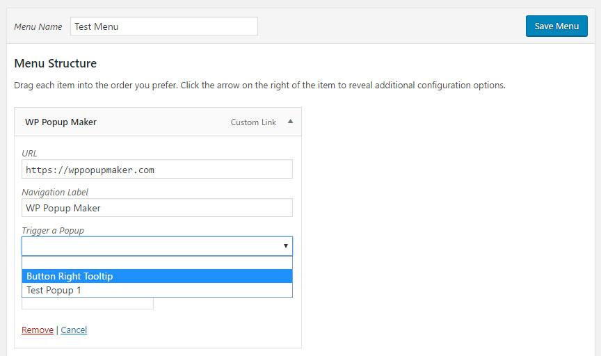 open a popup from a wordpress nav menu popup maker documentation
