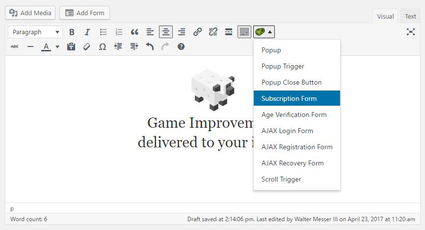MailChimp Integration -- Shortcode: Subscription Form