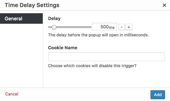 Triggers' option settings - Popup Maker Documentation