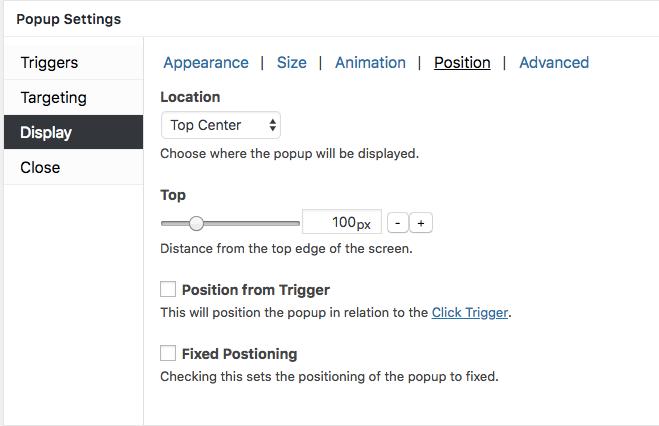 Display' options settings - Popup Maker Documentation