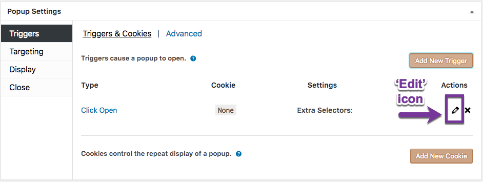 Triggers' option settings - Popup Maker Documentation