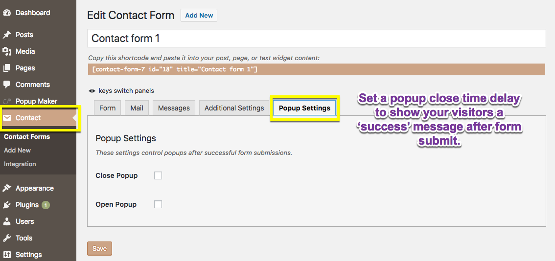 Form Submit Success Options Added by Popup Maker for Ninja