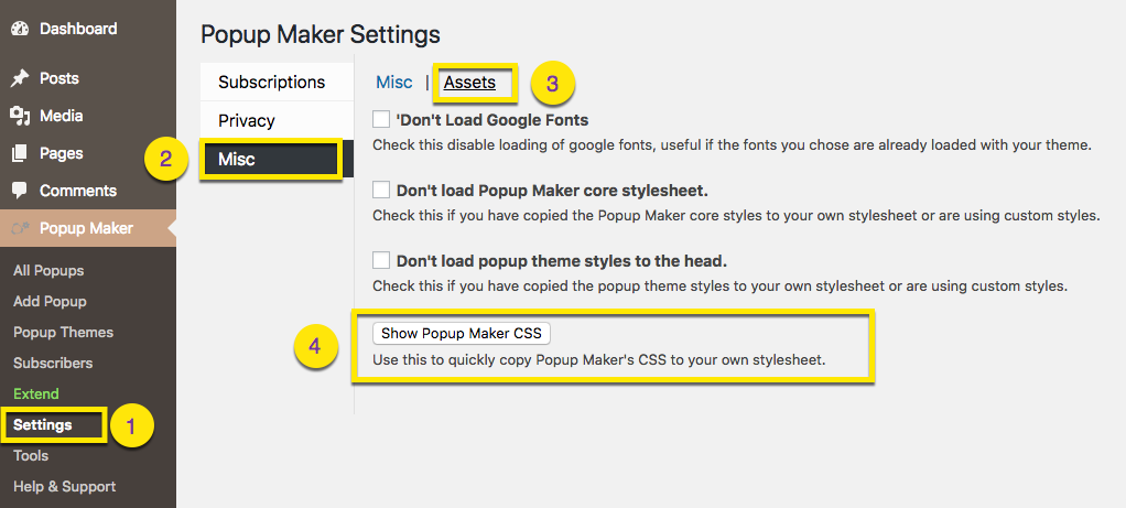 Find the Popup Maker Core and Popup Theme CSS - Popup Maker