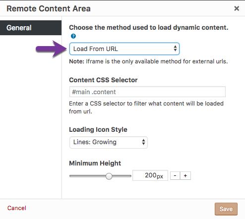 Remote Content -- Shortcode: Remote Content Area - Popup