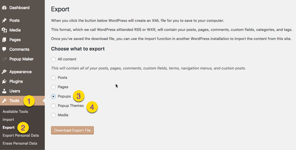 Export and Import Popups Between Sites - Popup Maker