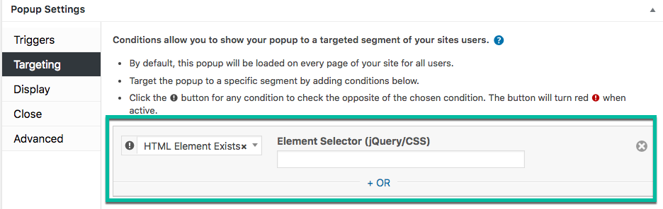Advanced Targeting Conditions: HTML Conditions - Popup Maker