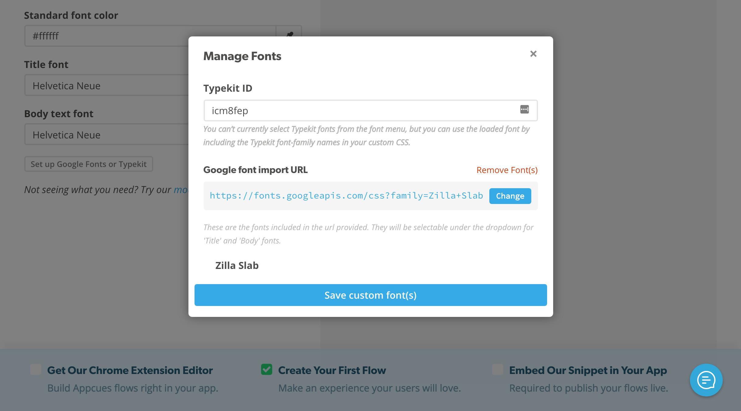 Using Custom Fonts - Appcues Docs
