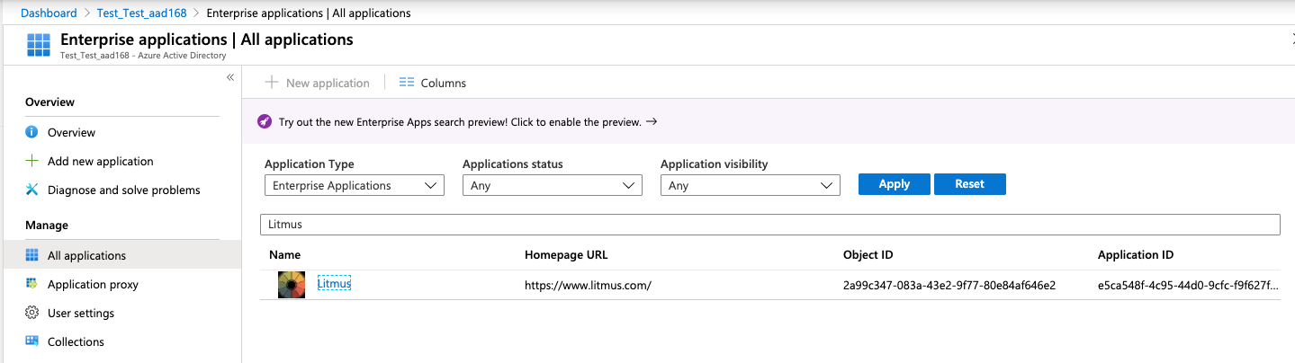 Litmus in Azure AD Enterprise Applications