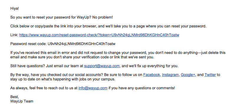 How can I change the password for my account? - WayUp