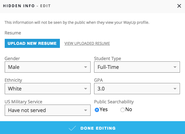 Uploading a resume WayUp Knowledge Base