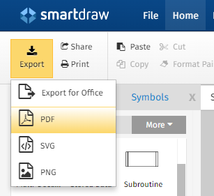 export a multi page file to pdf from smartdraw smartdraw software rh help smartdraw com smartdraw user guide 2018 smartdraw 2013 user guide