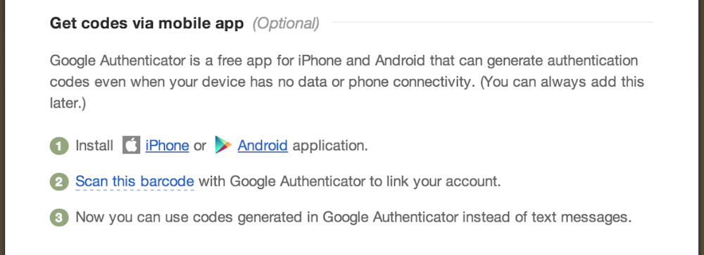 Google Authenticator setup screen