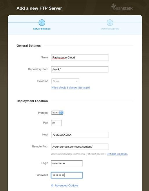 How do I deploy to Rackspace Cloud Sites? - Beanstalk Help