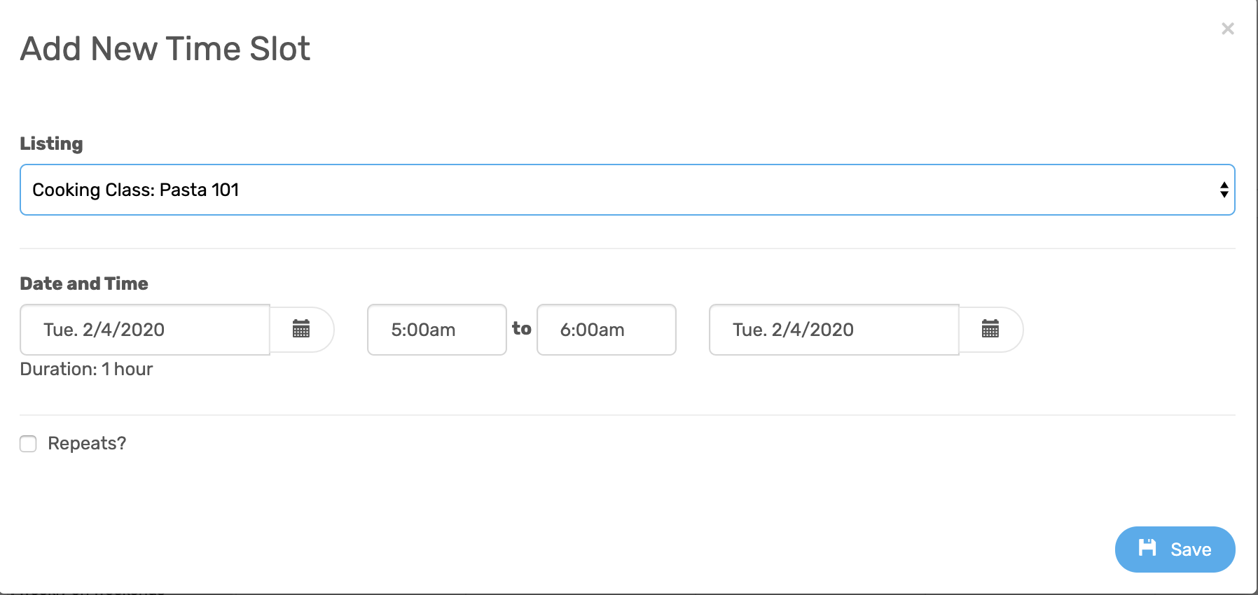 Add New Time Slots Set The Start And End Times Of An Event Occasion Knowledge Base